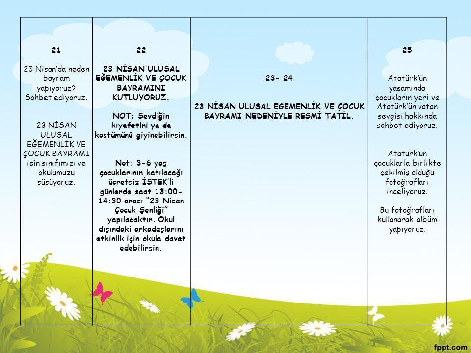 21 23 Nisan'da neden bayram yapıyoruz? Sohbet ediyoruz. 23 NİSAN ULUSAL EĞEMENLİK VE ÇOCUK BAYRAMI için sınıfımızı ve okulumuzu süsüyoruz. 22 23 NİSAN