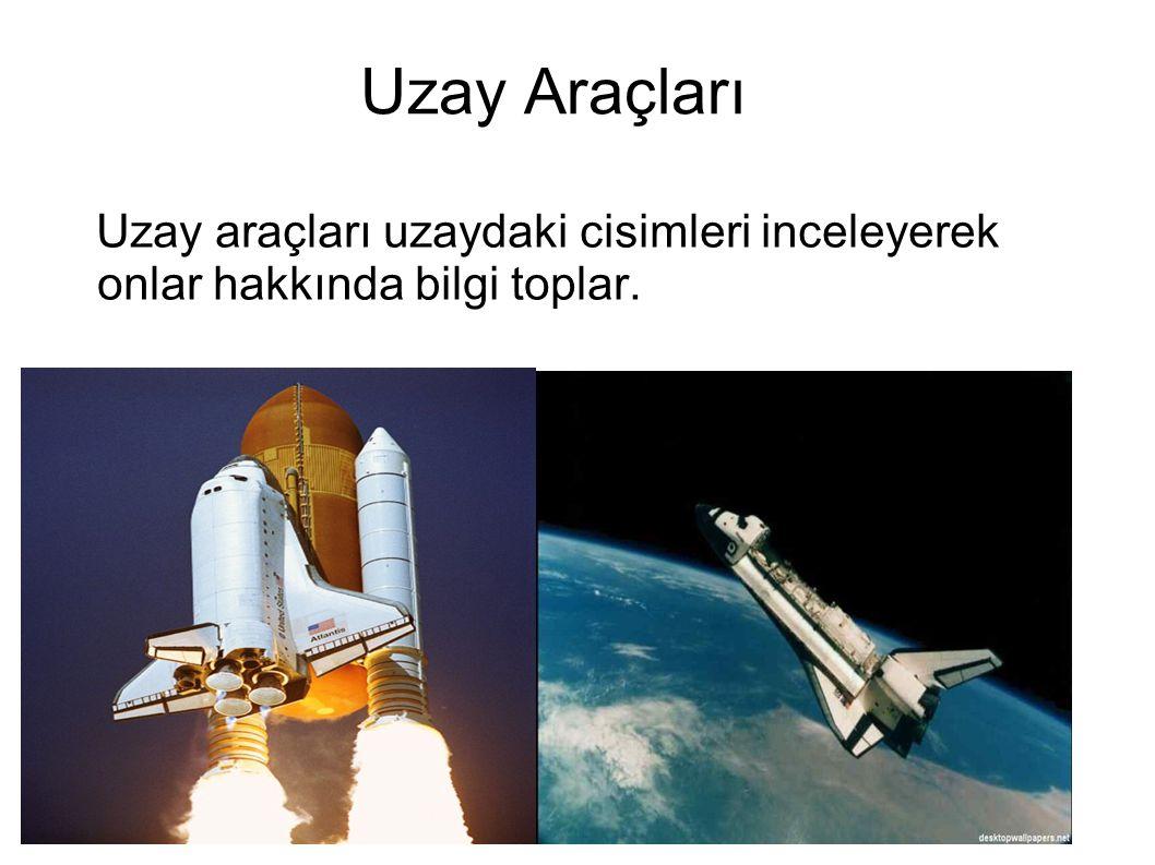 Uzay Araçları Uzay araçları uzaydaki cisimleri inceleyerek onlar hakkında bilgi toplar.