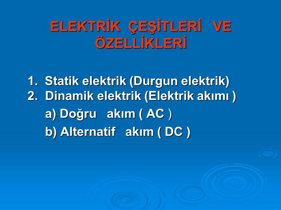 ELEKTRİK ÇEŞİTLERİ VE ÖZELLİKLERİ 1.