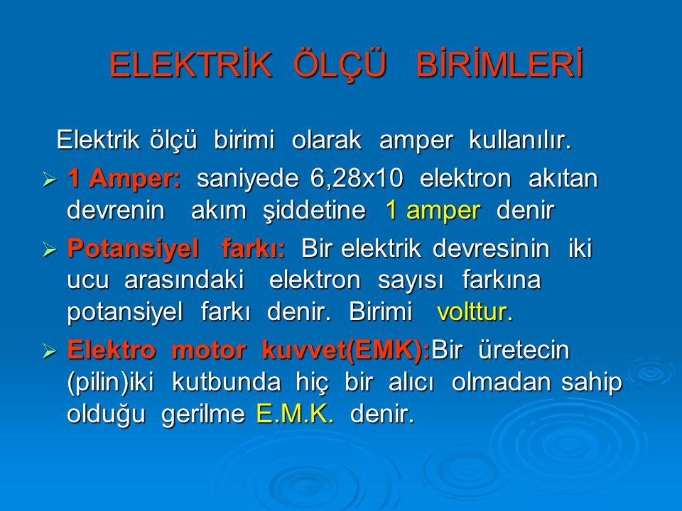 ELEKTRİK ÖLÇÜ BİRİMLERİ ELEKTRİK ÖLÇÜ BİRİMLERİ Elektrik ölçü birimi olarak amper kullanılır.