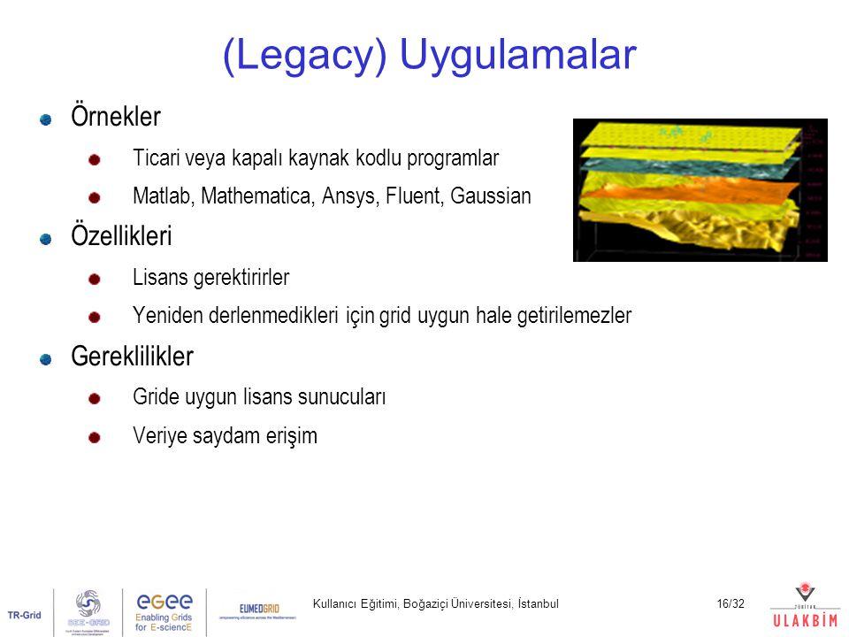 Kullanıcı Eğitimi, Boğaziçi Üniversitesi, İstanbul16/32 (Legacy) Uygulamalar Örnekler Ticari veya kapalı kaynak kodlu programlar Matlab, Mathematica, Ansys, Fluent, Gaussian Özellikleri Lisans gerektirirler Yeniden derlenmedikleri için grid uygun hale getirilemezler Gereklilikler Gride uygun lisans sunucuları Veriye saydam erişim