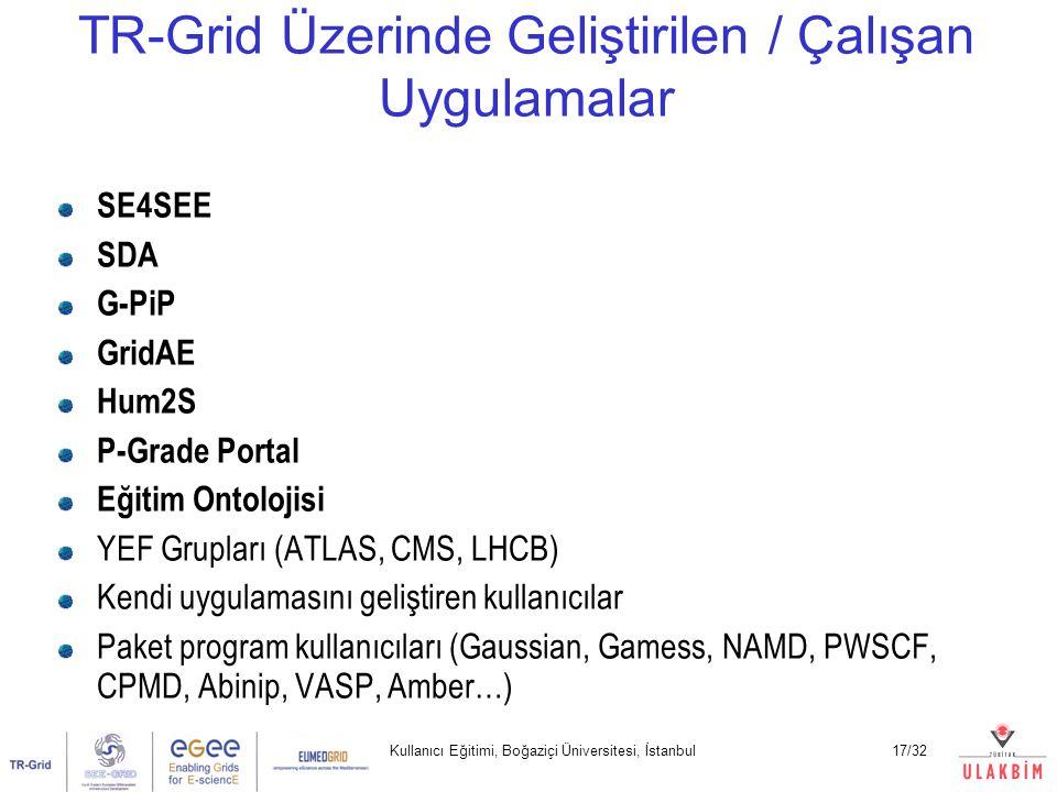 Kullanıcı Eğitimi, Boğaziçi Üniversitesi, İstanbul17/32 SE4SEE SDA G-PiP GridAE Hum2S P-Grade Portal Eğitim Ontolojisi YEF Grupları (ATLAS, CMS, LHCB) Kendi uygulamasını geliştiren kullanıcılar Paket program kullanıcıları (Gaussian, Gamess, NAMD, PWSCF, CPMD, Abinip, VASP, Amber…) TR-Grid Üzerinde Geliştirilen / Çalışan Uygulamalar