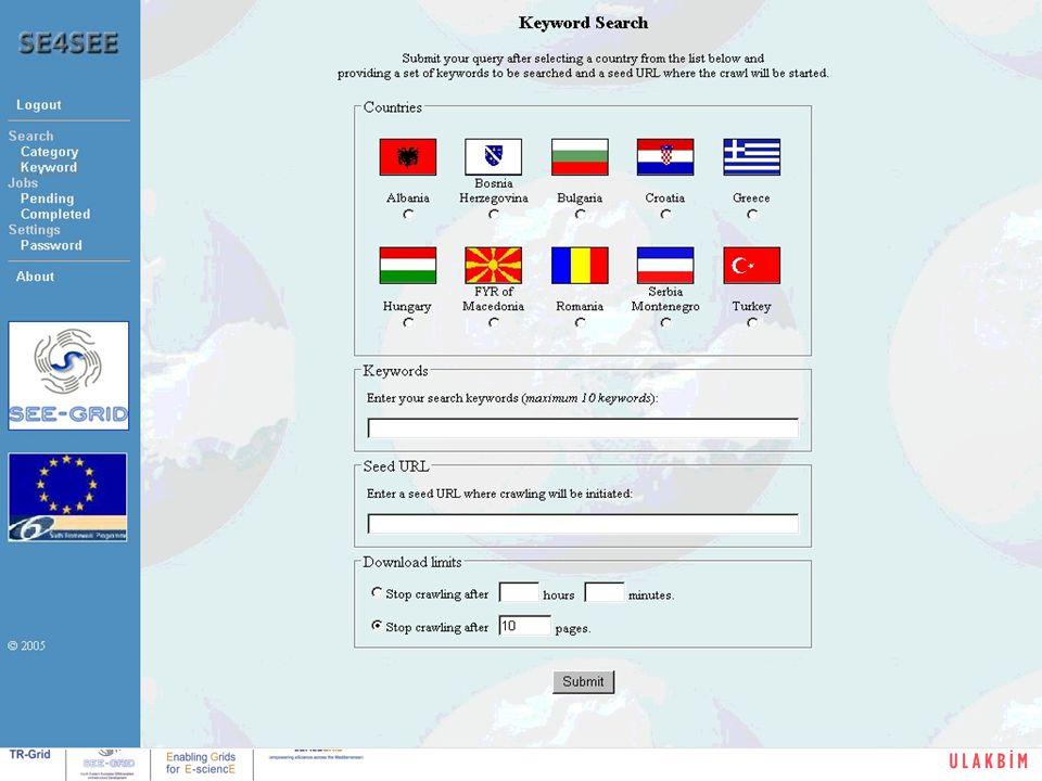 Kullanıcı Eğitimi, Boğaziçi Üniversitesi, İstanbul19/32 (Backup) SE4SEE Web Portal