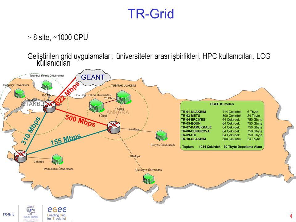 Kullanıcı Eğitimi, Boğaziçi Üniversitesi, İstanbul7/32 ~ 8 site, ~1000 CPU Geliştirilen grid uygulamaları, üniversiteler arası işbirlikleri, HPC kullanıcıları, LCG kullanıcıları TR-Grid