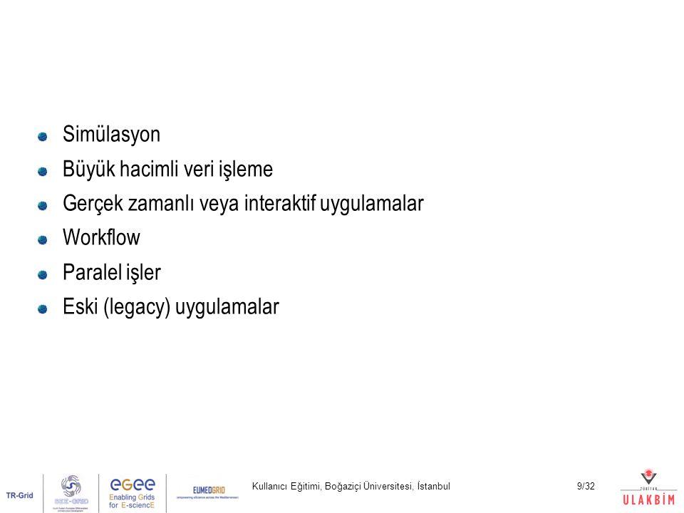 Kullanıcı Eğitimi, Boğaziçi Üniversitesi, İstanbul9/32 Simülasyon Büyük hacimli veri işleme Gerçek zamanlı veya interaktif uygulamalar Workflow Paralel işler Eski (legacy) uygulamalar