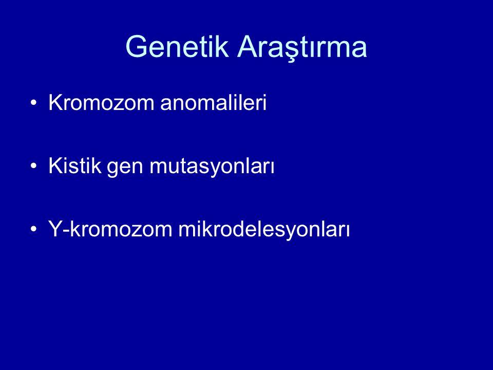 Genetik Araştırma Kromozom anomalileri Kistik gen mutasyonları Y-kromozom mikrodelesyonları