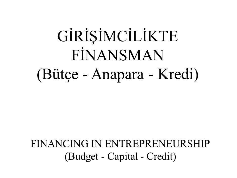 GİRİŞİMCİLİKTE FİNANSMAN (Bütçe - Anapara - Kredi) FINANCING IN ENTREPRENEURSHIP (Budget - Capital - Credit)