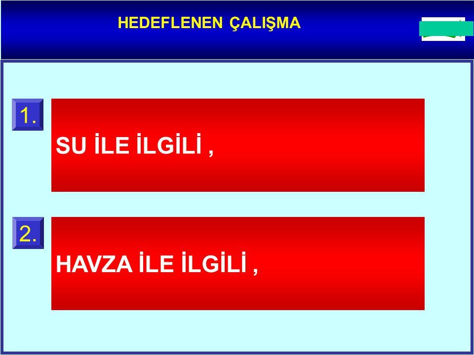 HEDEFLENEN ÇALIŞMA SU İLE İLGİLİ, 1. HAVZA İLE İLGİLİ, 2.