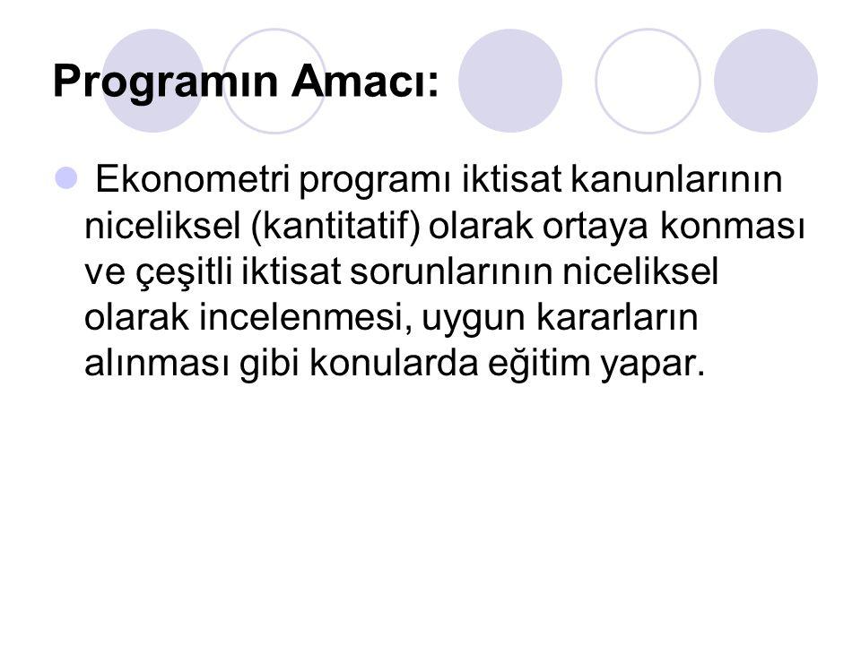 Programın Amacı: Ekonometri programı iktisat kanunlarının niceliksel (kantitatif) olarak ortaya konması ve çeşitli iktisat sorunlarının niceliksel olarak incelenmesi, uygun kararların alınması gibi konularda eğitim yapar.