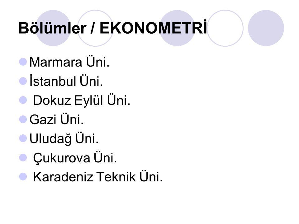 Bölümler / EKONOMETRİ Süleyman Demirel Üni. İnönü Üni. Doğu Akdeniz Üni.