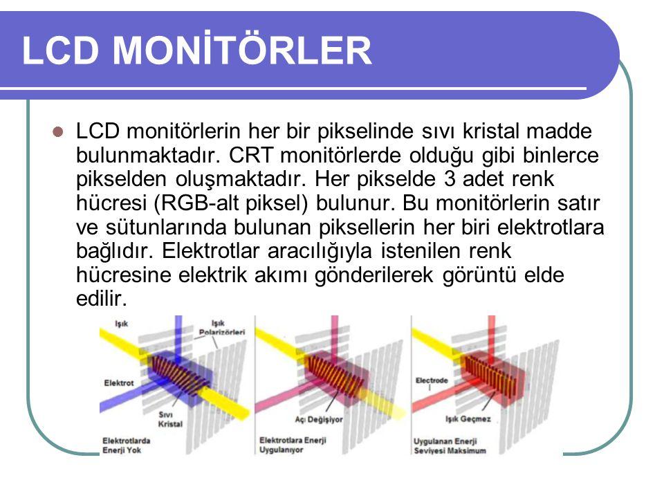 LCD MONİTÖRLER LCD monitörlerin her bir pikselinde sıvı kristal madde bulunmaktadır. CRT monitörlerde olduğu gibi binlerce pikselden oluşmaktadır. Her