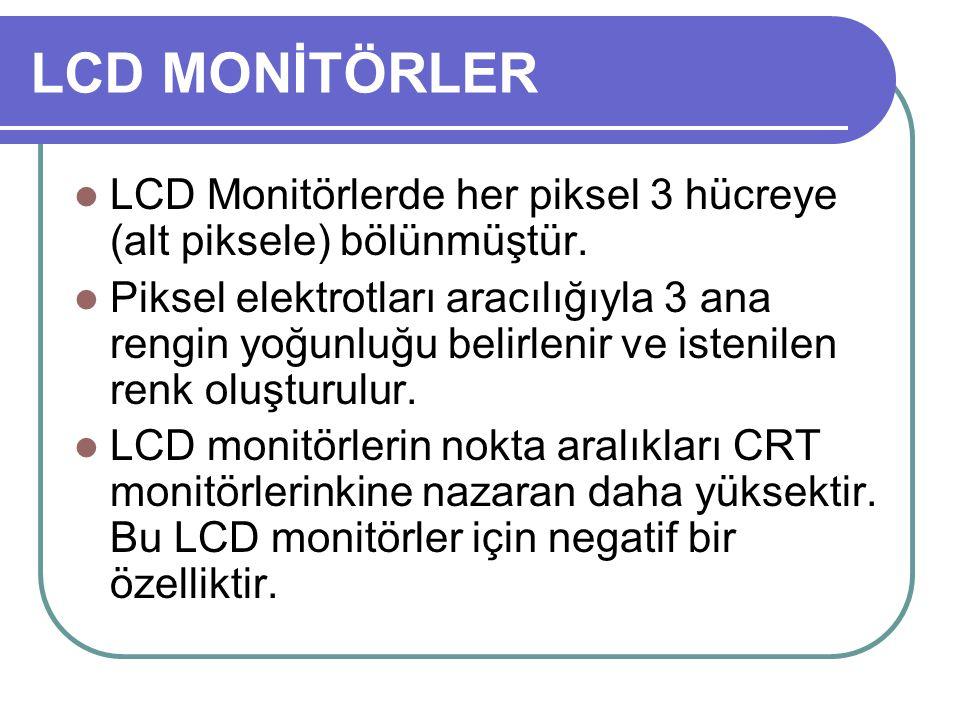 LCD Monitörlerde her piksel 3 hücreye (alt piksele) bölünmüştür. Piksel elektrotları aracılığıyla 3 ana rengin yoğunluğu belirlenir ve istenilen renk