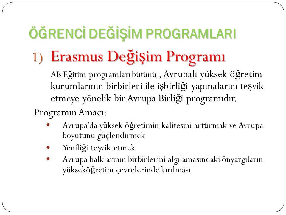 ÖĞRENCİ DEĞİŞİM PROGRAMLARI 1) Erasmus De ğ i ş im Programı AB E ğ itim programları bütünü, Avrupalı yüksek ö ğ retim kurumlarının birbirleri ile i ş birli ğ i yapmalarını te ş vik etmeye yönelik bir Avrupa Birli ğ i programıdır.
