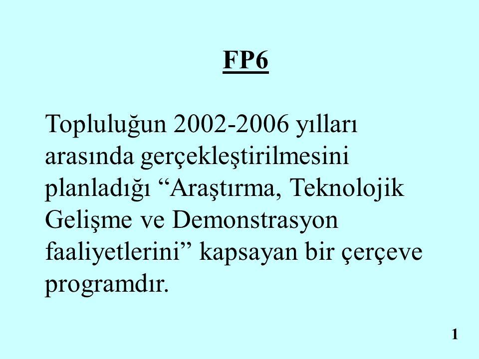 FP6 Topluluğun 2002-2006 yılları arasında gerçekleştirilmesini planladığı Araştırma, Teknolojik Gelişme ve Demonstrasyon faaliyetlerini kapsayan bir çerçeve programdır.