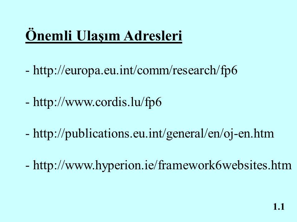 1.1 Önemli Ulaşım Adresleri - http://europa.eu.int/comm/research/fp6 - http://www.cordis.lu/fp6 - http://publications.eu.int/general/en/oj-en.htm - http://www.hyperion.ie/framework6websites.htm