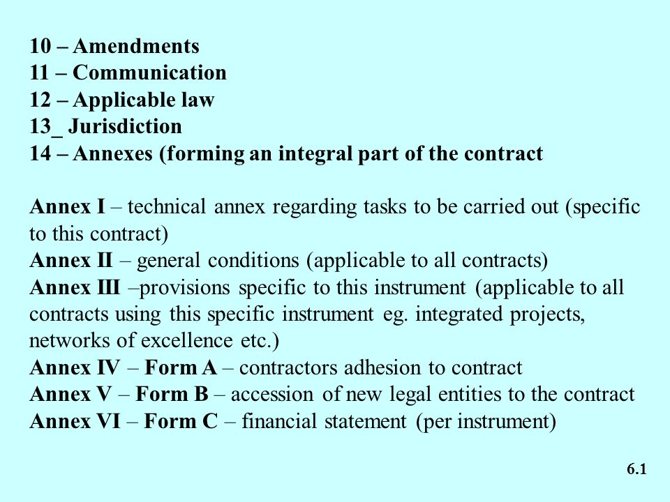 10 – Amendments 11 – Communication 12 – Applicable law 13_ Jurisdiction 14 – Annexes (forming an integral part of the contract Annex I – technical ann