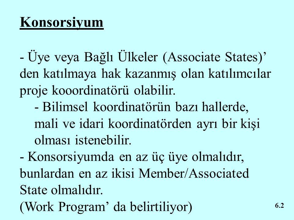 Konsorsiyum - Üye veya Bağlı Ülkeler (Associate States)' den katılmaya hak kazanmış olan katılımcılar proje kooordinatörü olabilir.