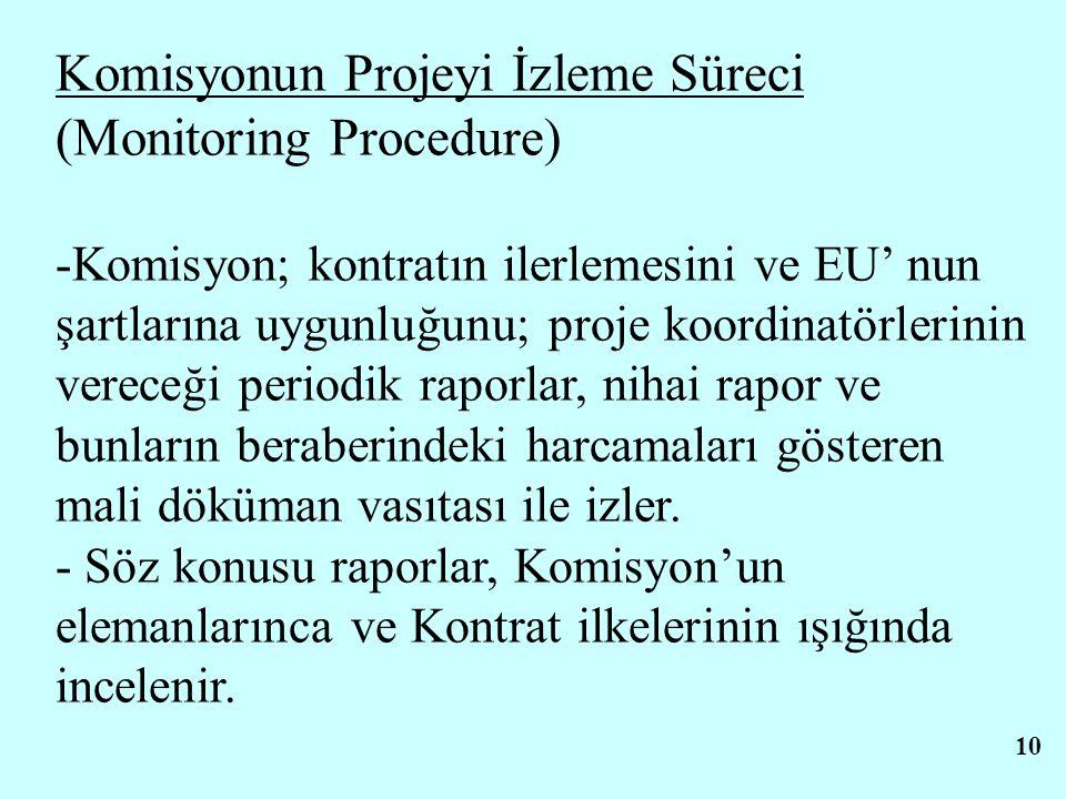 10 Komisyonun Projeyi İzleme Süreci (Monitoring Procedure) -Komisyon; kontratın ilerlemesini ve EU' nun şartlarına uygunluğunu; proje koordinatörlerinin vereceği periodik raporlar, nihai rapor ve bunların beraberindeki harcamaları gösteren mali döküman vasıtası ile izler.
