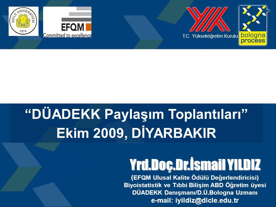 """1 T.C. Yükseköğretim Kurulu """"DÜADEKK Paylaşım Toplantıları"""" Ekim 2009, DİYARBAKIR Yrd.Doç.Dr.İsmail YILDIZ ( EFQM Ulusal Kalite Ödülü Değerlendiricisi"""