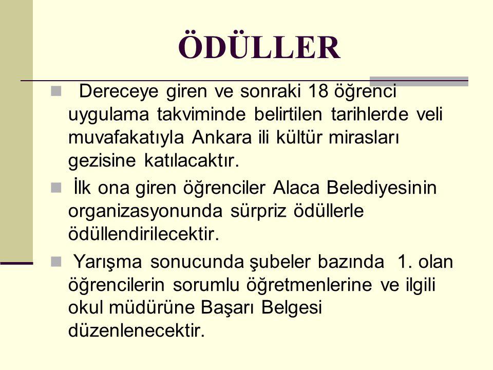 ÖDÜLLER Dereceye giren ve sonraki 18 öğrenci uygulama takviminde belirtilen tarihlerde veli muvafakatıyla Ankara ili kültür mirasları gezisine katılac