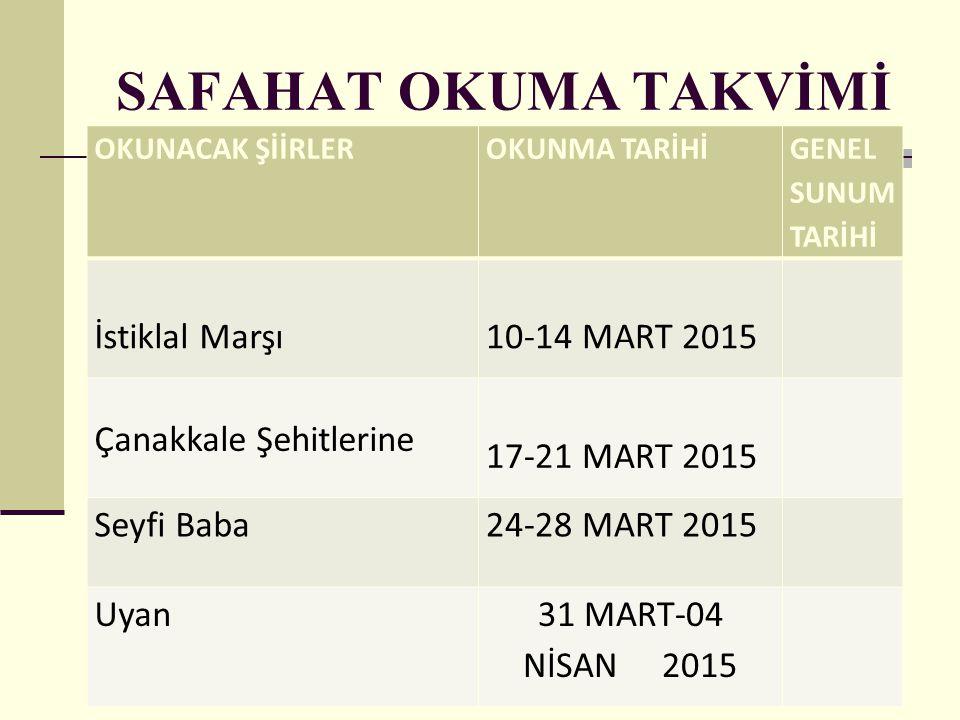 SAFAHAT OKUMA TAKVİMİ OKUNACAK ŞİİRLEROKUNMA TARİHİ GENEL SUNUM TARİHİ İstiklal Marşı10-14 MART 2015 Çanakkale Şehitlerine 17-21 MART 2015 Seyfi Baba2