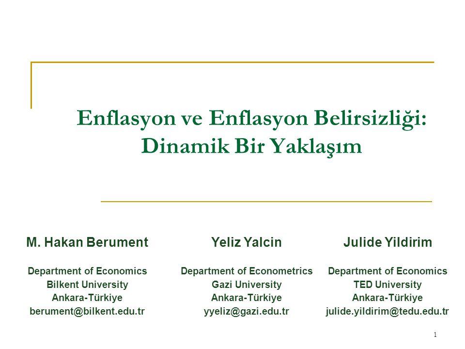 Enflasyon ve Enflasyon Belirsizliği: Dinamik Bir Yaklaşım 1 M.