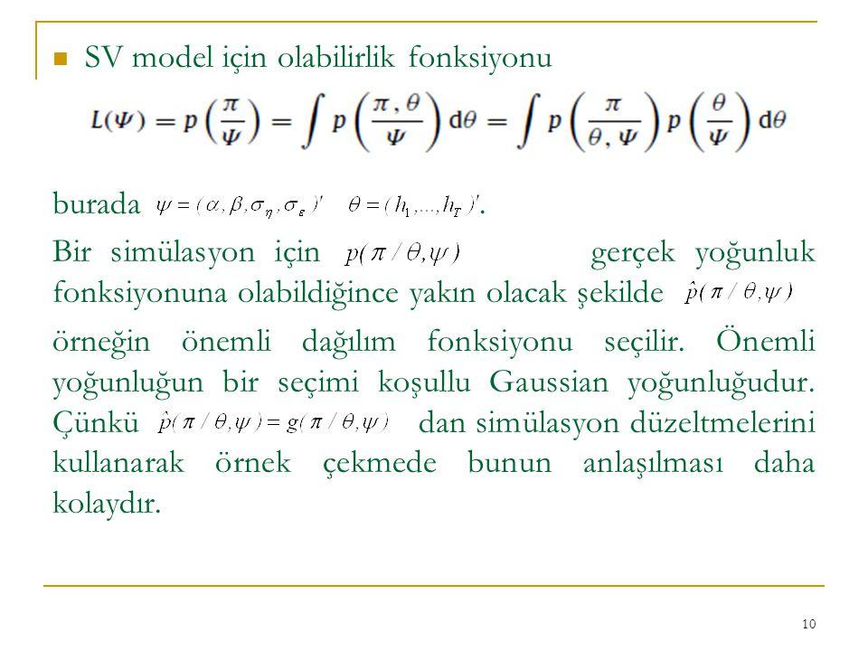SV model için olabilirlik fonksiyonu burada. Bir simülasyon için gerçek yoğunluk fonksiyonuna olabildiğince yakın olacak şekilde örneğin önemli dağılı