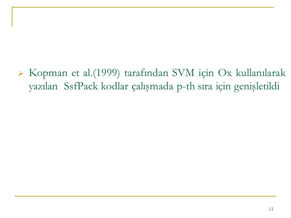  Kopman et al.(1999) tarafından SVM için Ox kullanılarak yazılan SsfPack kodlar çalışmada p-th sıra için genişletildi 11