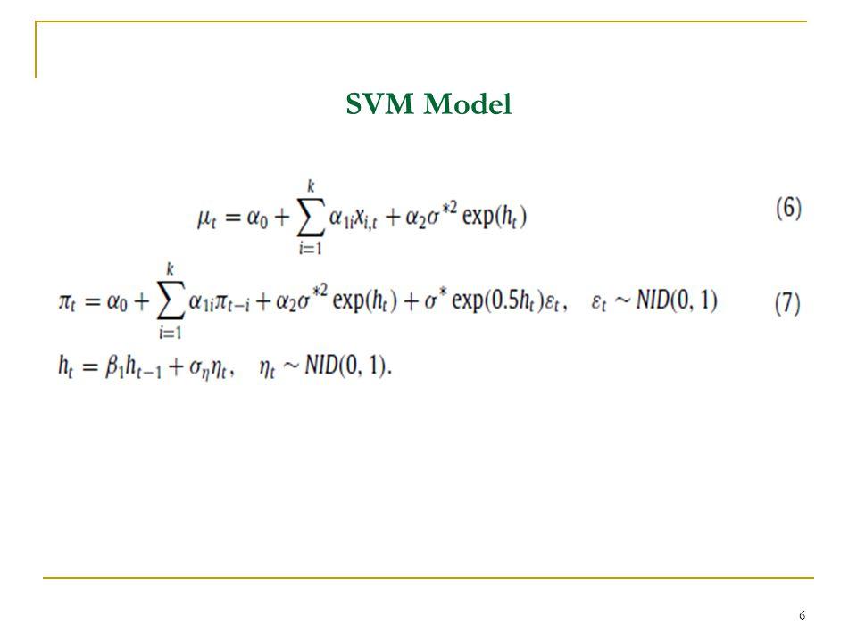 p-th order SVM Model p-th dereceden SVM model ve volatility-in-mean etkisinin gecikmeli değerlerinin bulunduğu ortalama denklemi 7