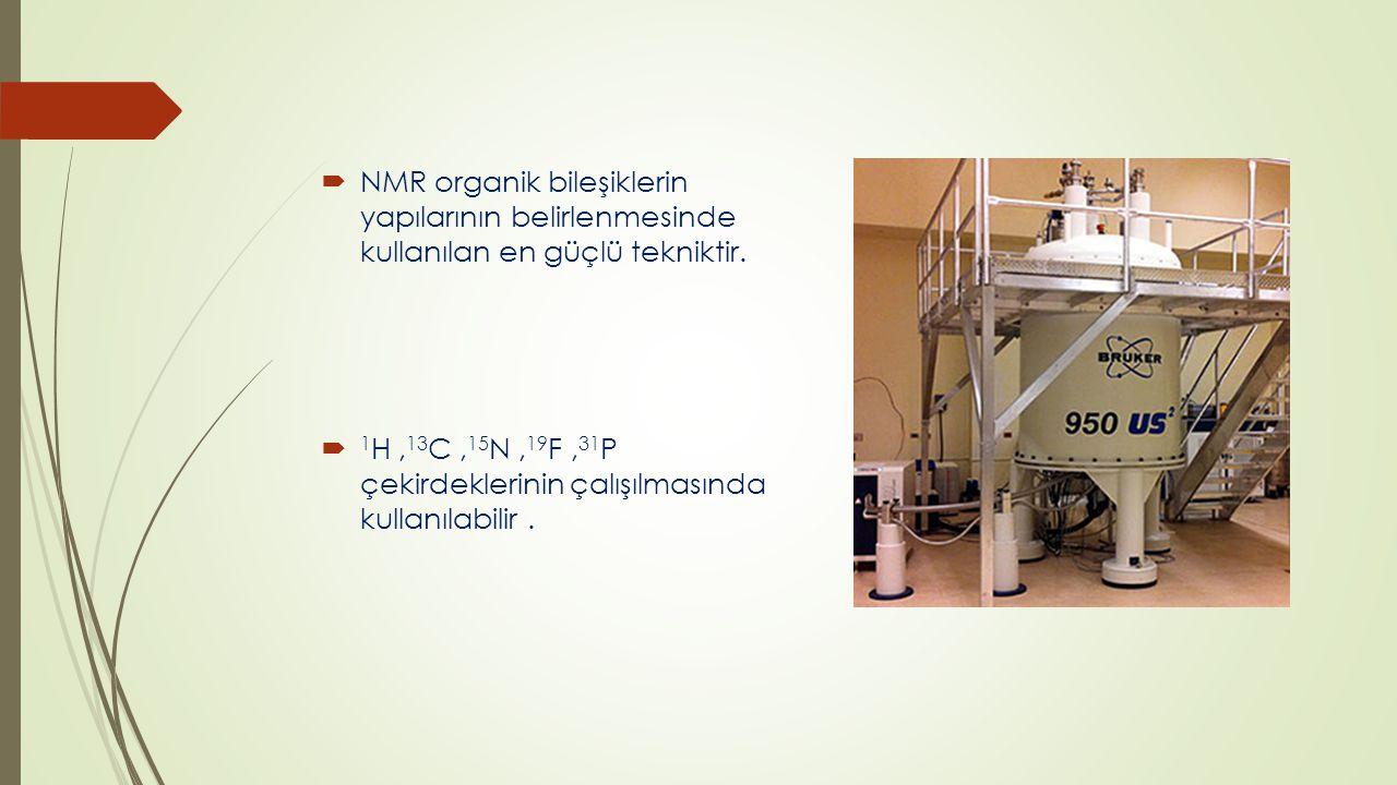  NMR sinyali incelenen maddenin hangi kimyasal bileşenlerden oluştuğunu, sıvı veya katı halde olup olmadığını, yoğunluğu/viskozitesi hakkında bilgi vermektedir.