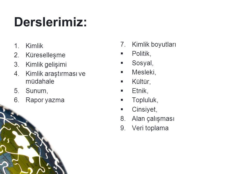 Derslerimiz: 1.Kimlik 2.Küreselleşme 3.Kimlik gelişimi 4.Kimlik araştırması ve müdahale 5.Sunum, 6.Rapor yazma 7.Kimlik boyutları  Politik,  Sosyal,