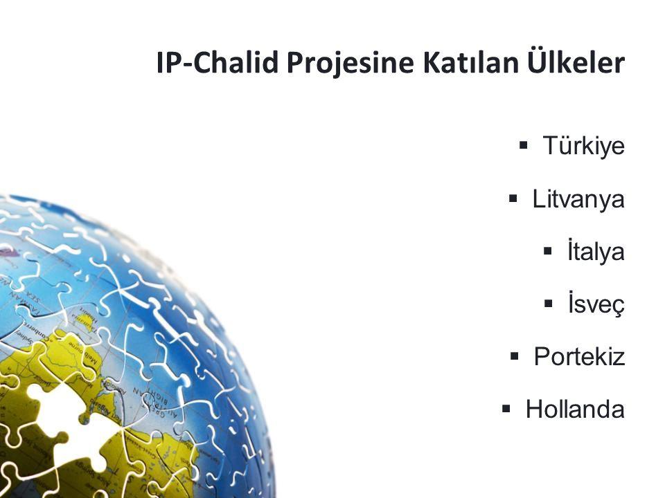 IP-Chalid Projesine Katılan Ülkeler  Türkiye  Litvanya  İtalya  İsveç  Portekiz  Hollanda
