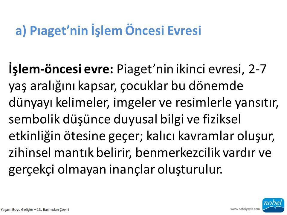 a) Pıaget'nin İşlem Öncesi Evresi İşlem-öncesi evre: Piaget'nin ikinci evresi, 2-7 yaş aralığını kapsar, çocuklar bu dönemde dünyayı kelimeler, imgele