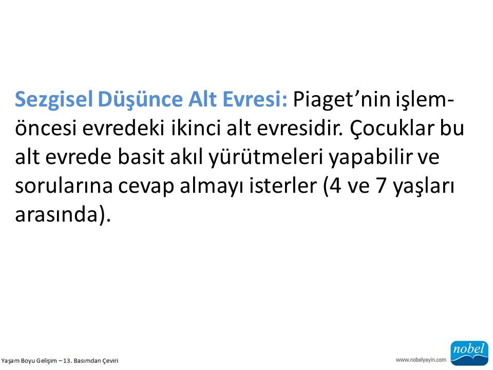 Sezgisel Düşünce Alt Evresi: Piaget'nin işlem- öncesi evredeki ikinci alt evresidir. Çocuklar bu alt evrede basit akıl yürütmeleri yapabilir ve sorula