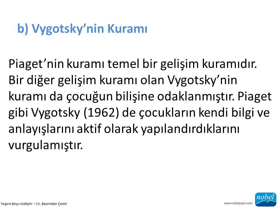 b) Vygotsky'nin Kuramı Piaget'nin kuramı temel bir gelişim kuramıdır. Bir diğer gelişim kuramı olan Vygotsky'nin kuramı da çocuğun bilişine odaklanmış