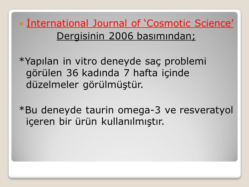 İnternational Journal of 'Cosmotic Science' Dergisinin 2006 basımından; *Yapılan in vitro deneyde saç problemi görülen 36 kadında 7 hafta içinde düzelmeler görülmüştür.