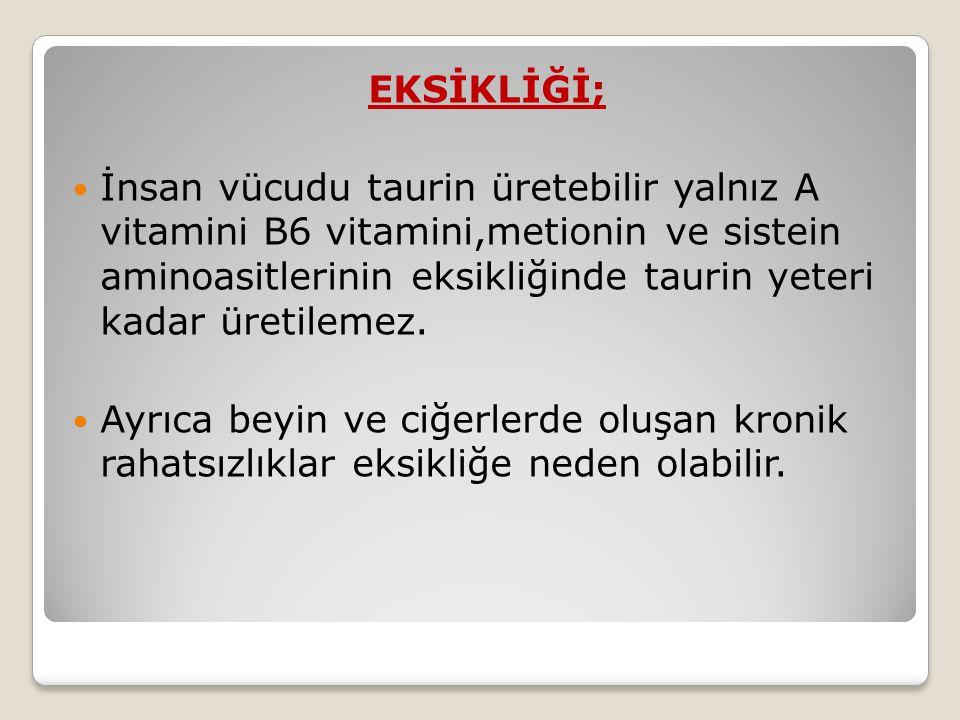 EKSİKLİĞİ; İnsan vücudu taurin üretebilir yalnız A vitamini B6 vitamini,metionin ve sistein aminoasitlerinin eksikliğinde taurin yeteri kadar üretilemez.