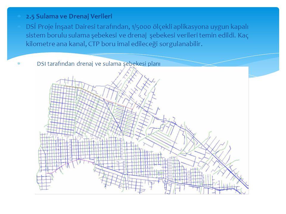  2.5 Sulama ve Drenaj Verileri  DSİ Proje İnşaat Dairesi tarafından, 1/5000 ölçekli aplikasyona uygun kapalı sistem borulu sulama şebekesi ve drenaj