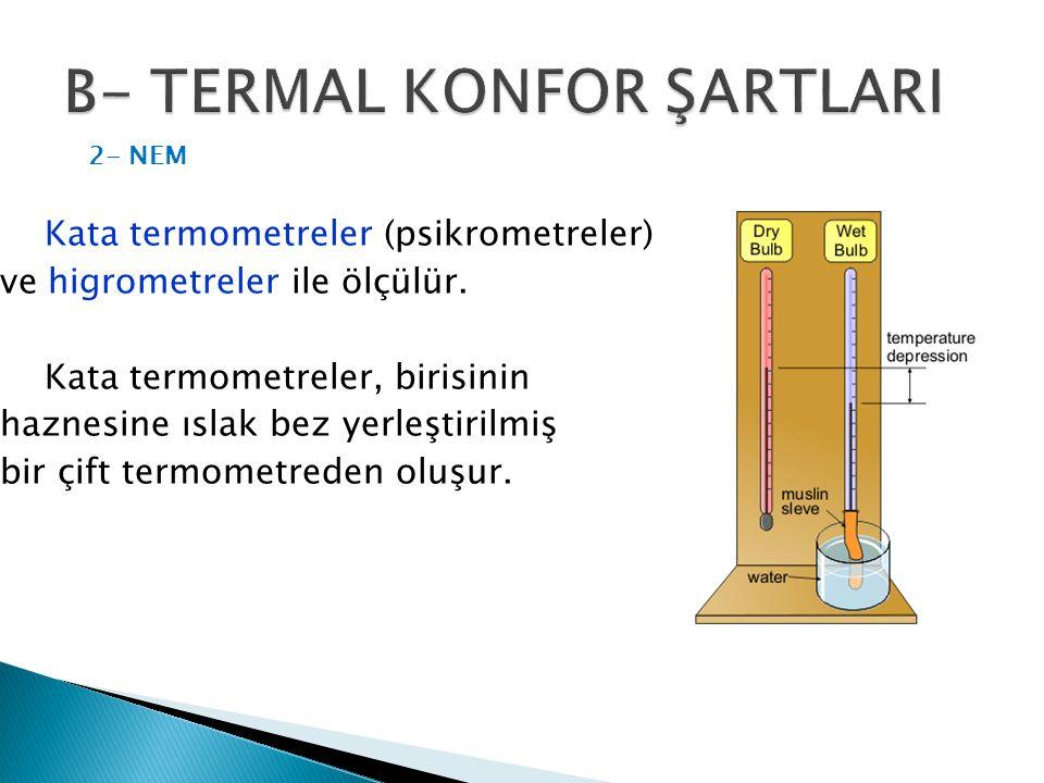Kata termometreler (psikrometreler) ve higrometreler ile ölçülür. Kata termometreler, birisinin haznesine ıslak bez yerleştirilmiş bir çift termometre