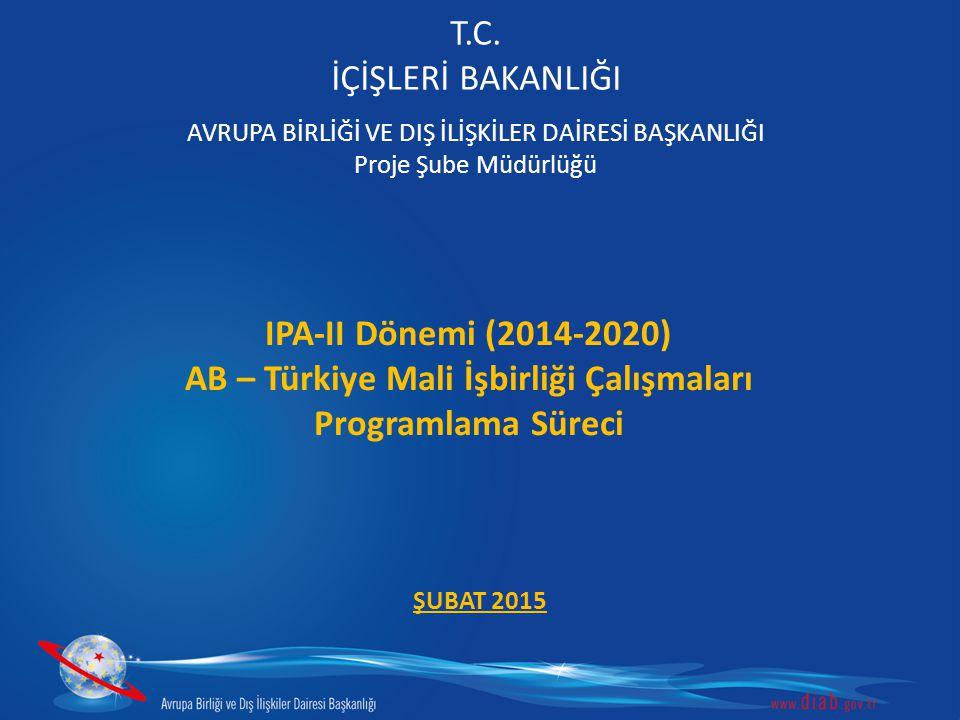 T.C. İÇİŞLERİ BAKANLIĞI AVRUPA BİRLİĞİ VE DIŞ İLİŞKİLER DAİRESİ BAŞKANLIĞI Proje Şube Müdürlüğü IPA-II Dönemi (2014-2020) AB – Türkiye Mali İşbirliği