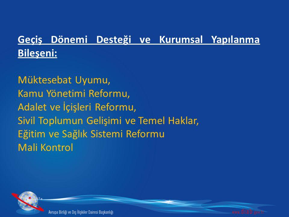 Geçiş Dönemi Desteği ve Kurumsal Yapılanma Bileşeni: Müktesebat Uyumu, Kamu Yönetimi Reformu, Adalet ve İçişleri Reformu, Sivil Toplumun Gelişimi ve T