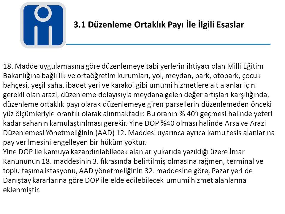 3.1 Düzenleme Ortaklık Payı İle İlgili Esaslar 18. Madde uygulamasına göre düzenlemeye tabi yerlerin ihtiyacı olan Milli Eğitim Bakanlığına bağlı ilk