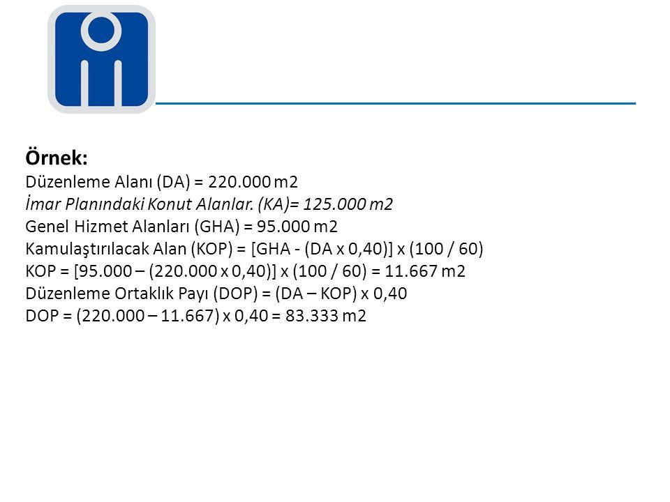 Örnek: Düzenleme Alanı (DA) = 220.000 m2 İmar Planındaki Konut Alanlar. (KA)= 125.000 m2 Genel Hizmet Alanları (GHA) = 95.000 m2 Kamulaştırılacak Alan