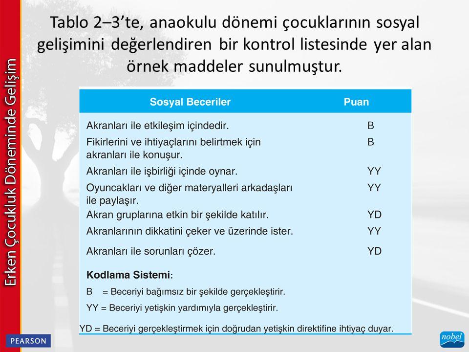 Tablo 2–3'te, anaokulu dönemi çocuklarının sosyal gelişimini değerlendiren bir kontrol listesinde yer alan örnek maddeler sunulmuştur.