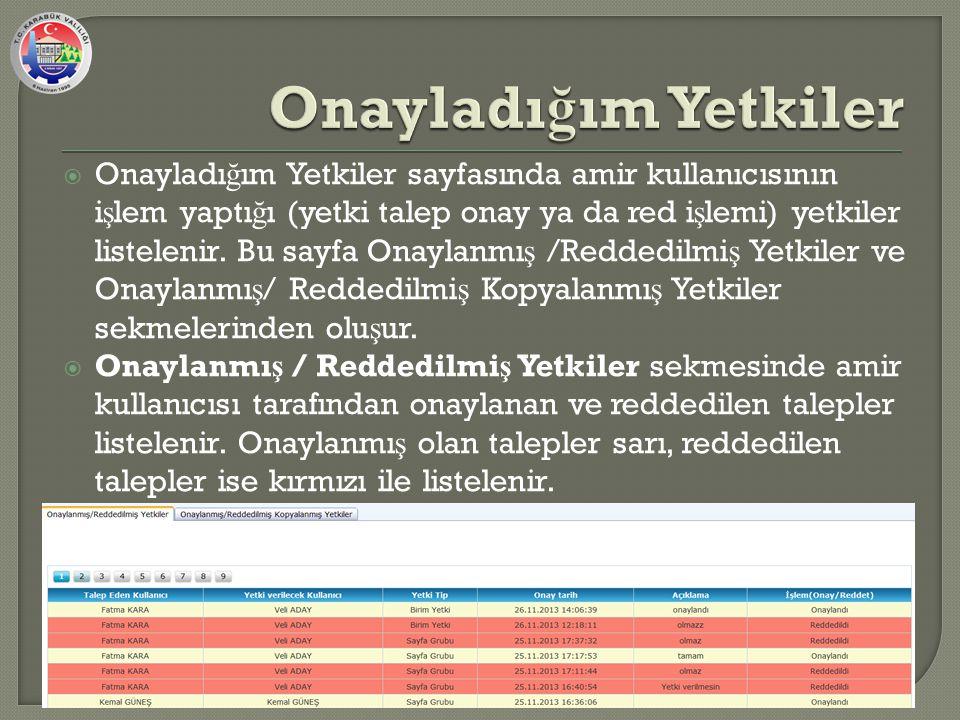  Onayladı ğ ım Yetkiler sayfasında amir kullanıcısının i ş lem yaptı ğ ı (yetki talep onay ya da red i ş lemi) yetkiler listelenir.