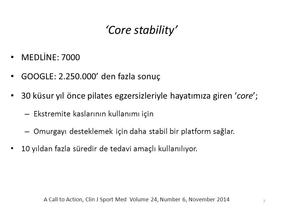 'Core stability' MEDLİNE: 7000 GOOGLE: 2.250.000' den fazla sonuç 30 küsur yıl önce pilates egzersizleriyle hayatımıza giren 'core'; – Ekstremite kasl