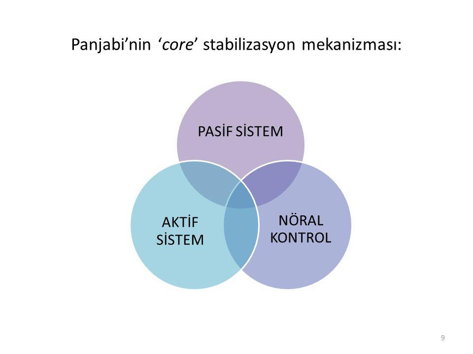 Panjabi'nin 'core' stabilizasyon mekanizması: PASİF SİSTEM NÖRAL KONTROL AKTİF SİSTEM 9