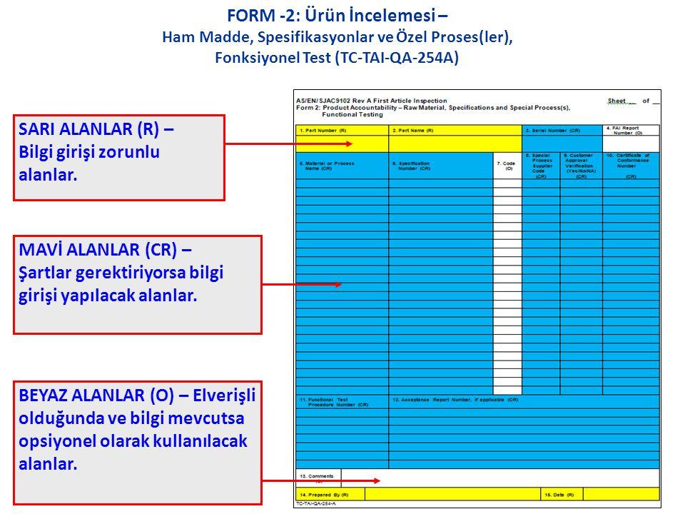 FORM -2: Ürün İncelemesi – Ham Madde, Spesifikasyonlar ve Özel Proses(ler), Fonksiyonel Test (TC-TAI-QA-254A) SARI ALANLAR (R) – Bilgi girişi zorunlu