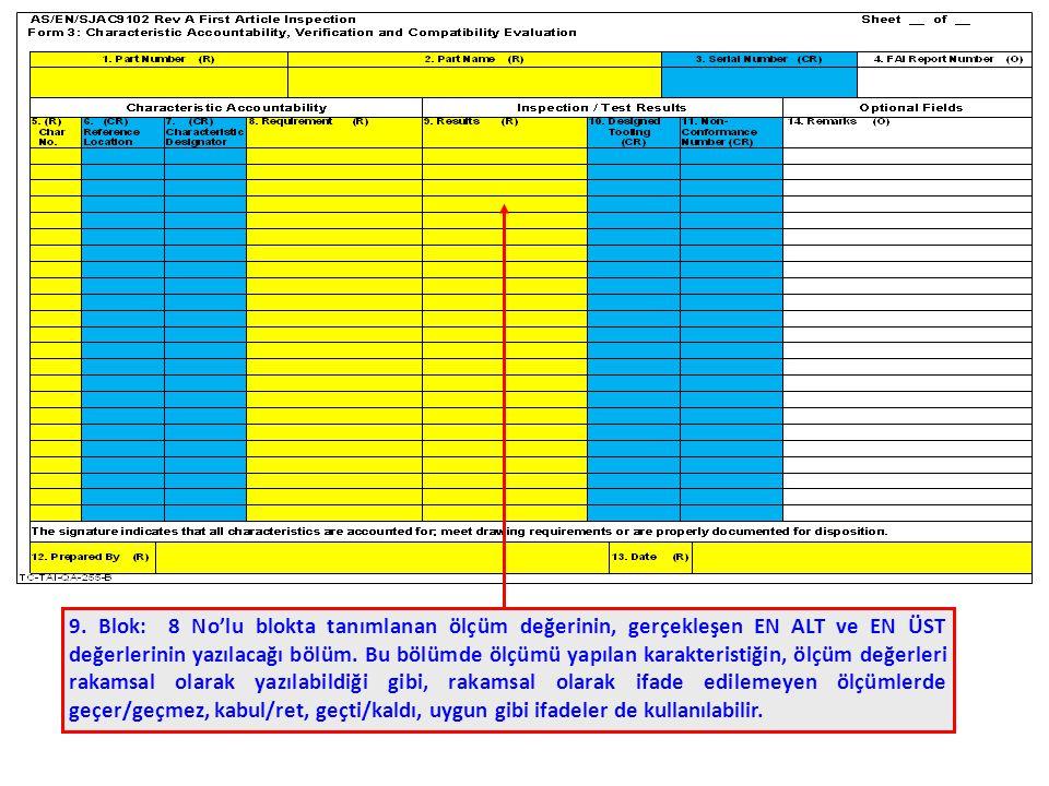 9. Blok: 8 No'lu blokta tanımlanan ölçüm değerinin, gerçekleşen EN ALT ve EN ÜST değerlerinin yazılacağı bölüm. Bu bölümde ölçümü yapılan karakteristi