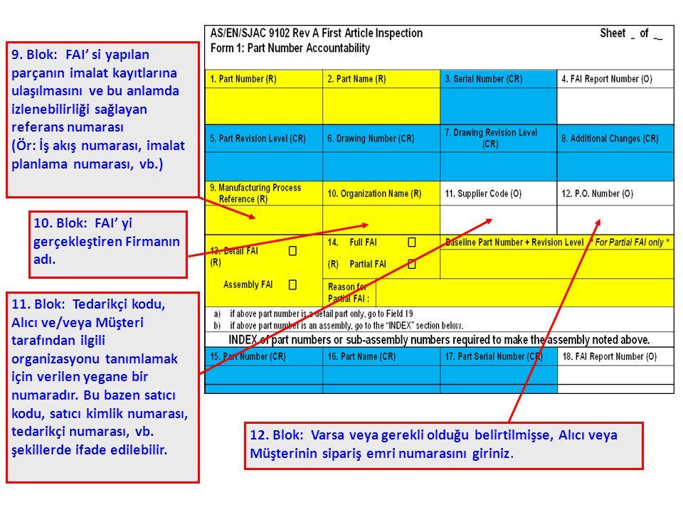 9. Blok: FAI' si yapılan parçanın imalat kayıtlarına ulaşılmasını ve bu anlamda izlenebilirliği sağlayan referans numarası (Ör: İş akış numarası, imal